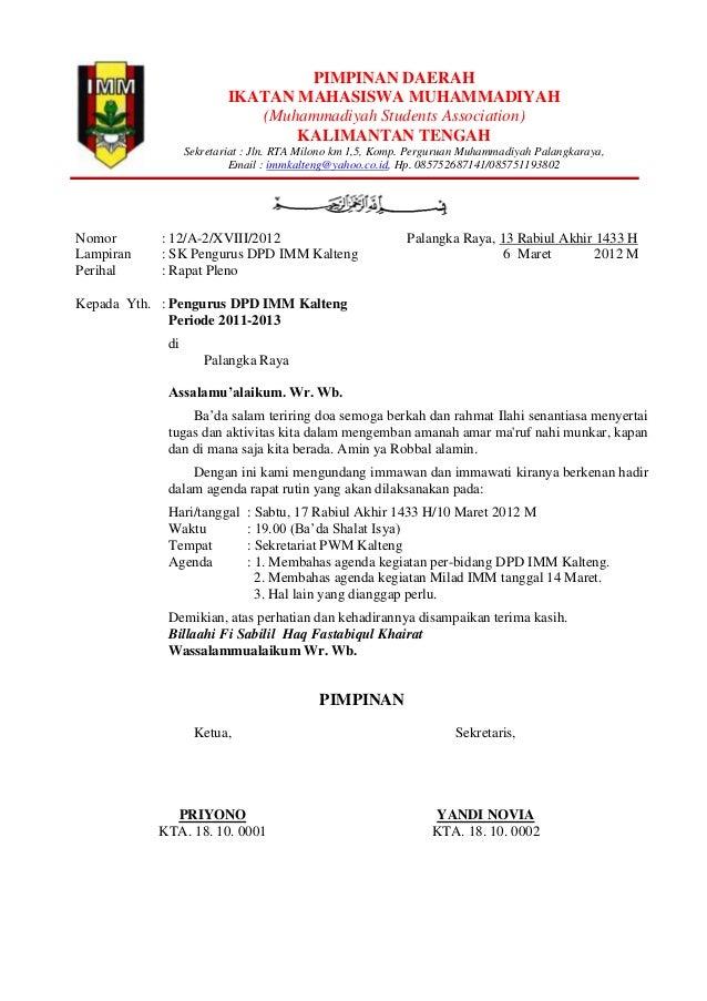 contoh undangan rapat imm by sekum
