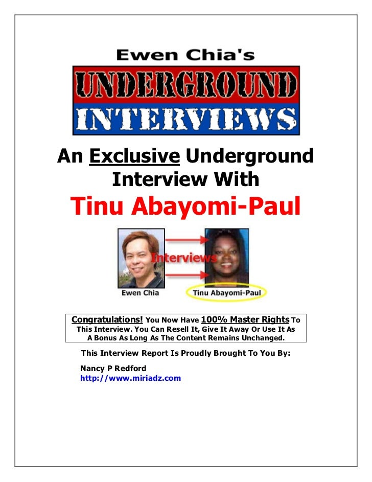 An Exclusive Underground      Interview With      Tinu Abayomi-Paul      Congratulations! You Now Have 100% Master Rights ...