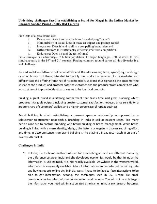Underlying challenges faced in establishing a brand for Maggi in the Indian Market byBhawani Nandan Prasad - MBA IIM Calcu...