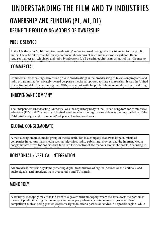 Understanding the film and TV INdustries Ownership and FUnding (P1, M1, D1) define the following models of ownership publi...
