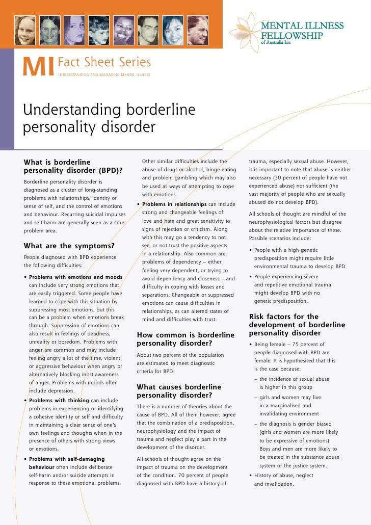 MI            Fact Sheet Series                UNDERSTANDING AND MANAGING MENTAL ILLNESS     Understanding borderline pers...
