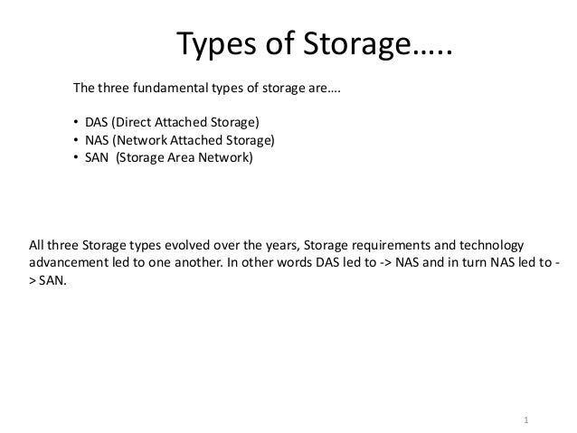 Types of Storage…..       The three fundamental types of storage are….       • DAS (Direct Attached Storage)       • NAS (...