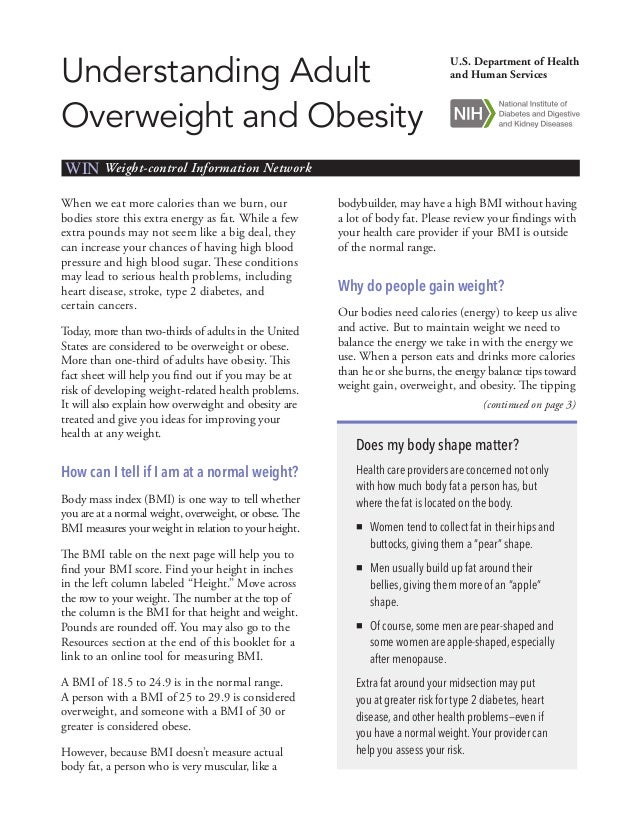 Understanding Adult Overweight and Obesity  U.S. Department of Health and Human Services  WIN Weight-control Information N...