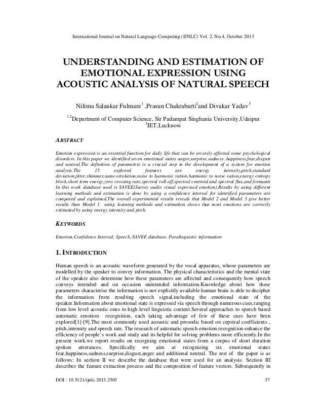 International Journal on Natural Language Computing (IJNLC) Vol. 2, No.4, October 2013  UNDERSTANDING AND ESTIMATION OF EM...