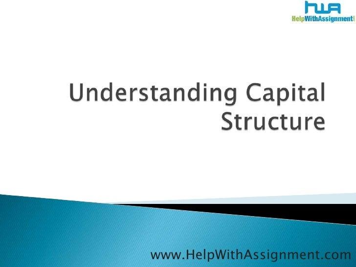 Understanding capital structure