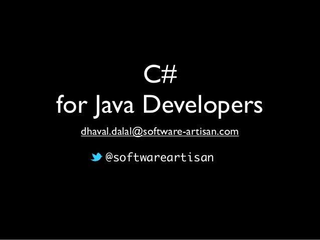 Understanding c# for java