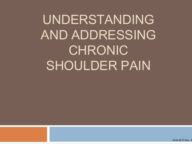 UNDERSTANDING AND ADDRESSING CHRONIC SHOULDER PAIN  CAW-2273 Rev. A