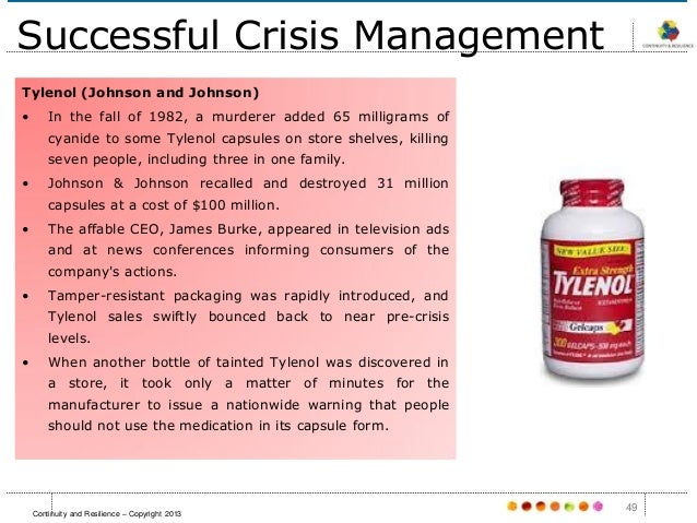 crisis management johnson and johnson Alan hilburg is credited with the textbook case for successful management of a reputational crisis,  five key lessons from tylenol crisis from  johnson turned.