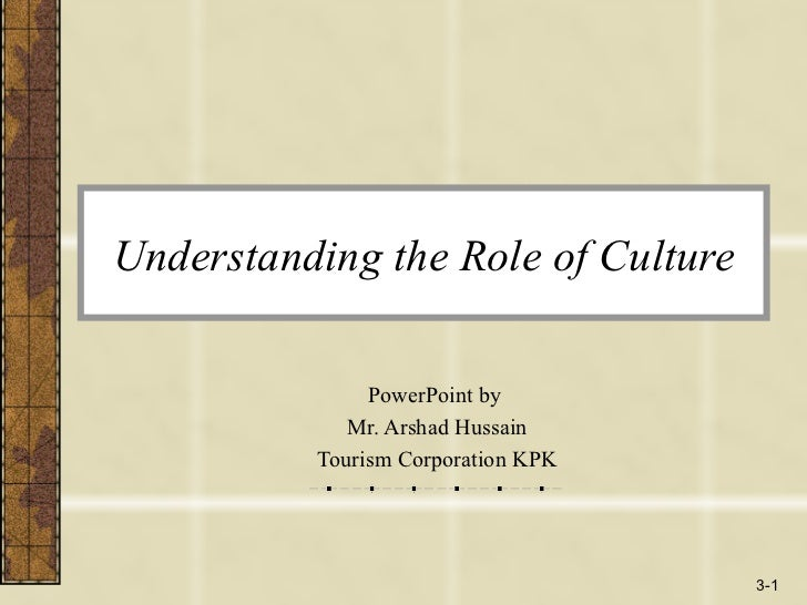 Understanding the Role of Culture PowerPoint by  Mr. Arshad Hussain Tourism Corporation KPK 3-