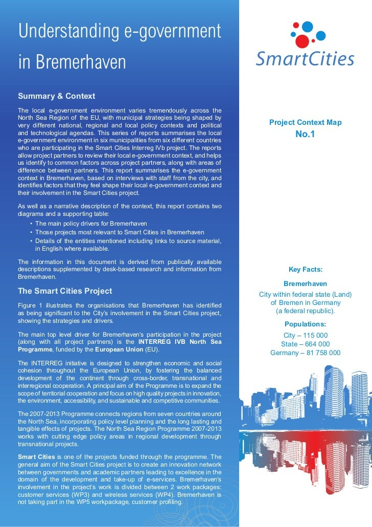 Understanding e-governmentin BremerhavenSummary & ContextThe local e-government environment varies tremendously across the...