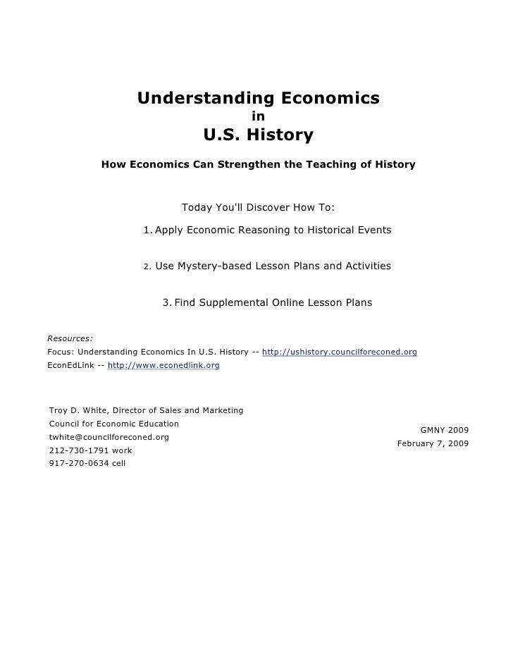 Understanding Economics                                                 in                                     U.S. Histor...