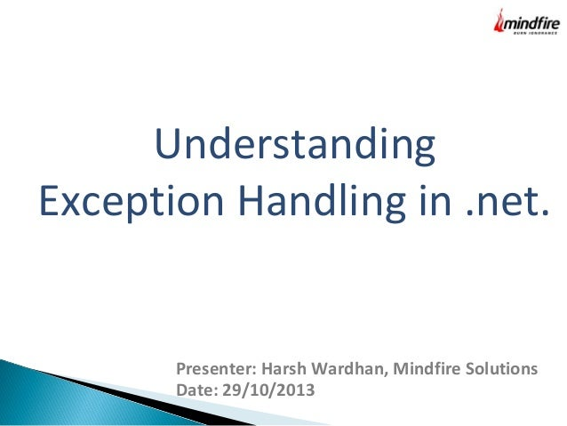 Understanding Exception Handling in .Net