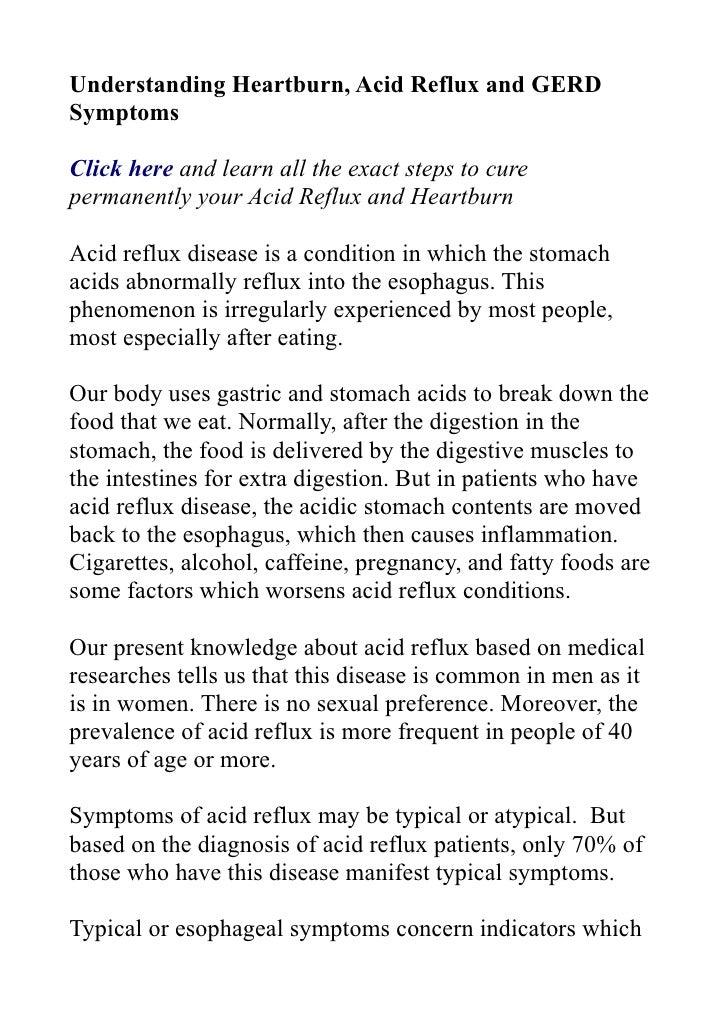 Understanding heartburn, acid reflux and gerd symptoms