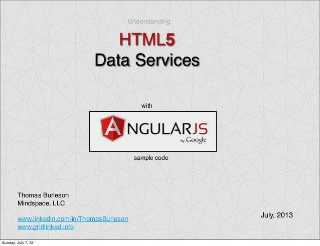 Understanding HTML5 Data Services Thomas Burleson Mindspace, LLC www.linkedin.com/in/ThomasBurleson www.gridlinked.info wi...
