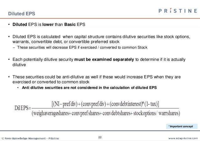 Diluted eps stock options example