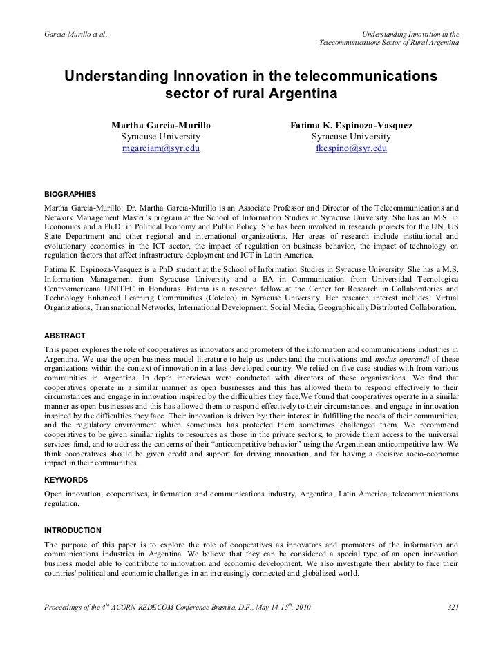 Understanding innovation in the telecommunications sector of rural argentina - Martha Garcia-Murillo y Fatima K. Espinoza-Vasquez  (2010)