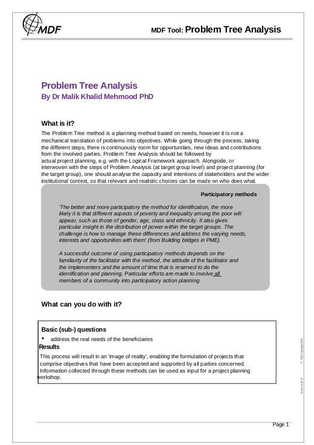MDF Tool: Problem Tree Analysis Problem Tree Analysis By Dr Malik Khalid Mehmood PhD What is it? The Problem Tree method i...