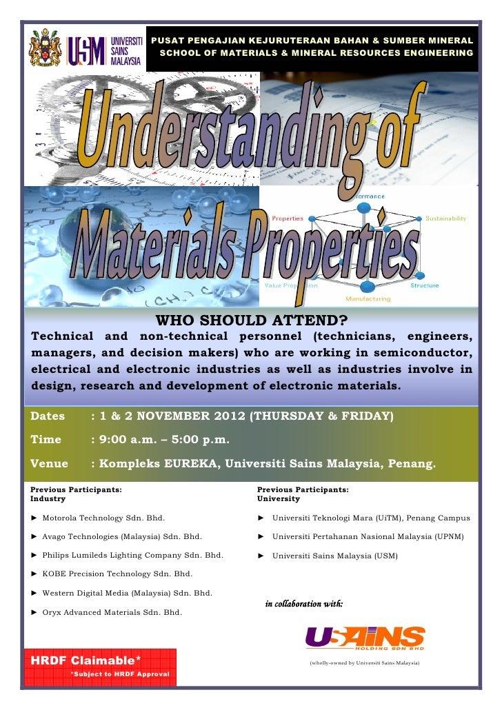 Understanding of Materials Properties Course Nov 2012