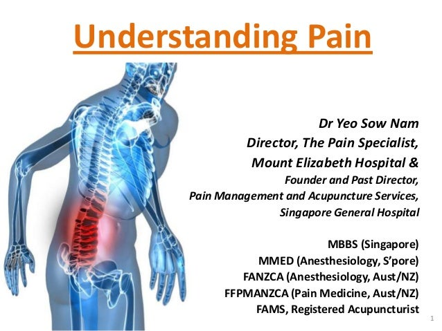Understanding Pain                            Dr Yeo Sow Nam                Director, The Pain Specialist,                ...