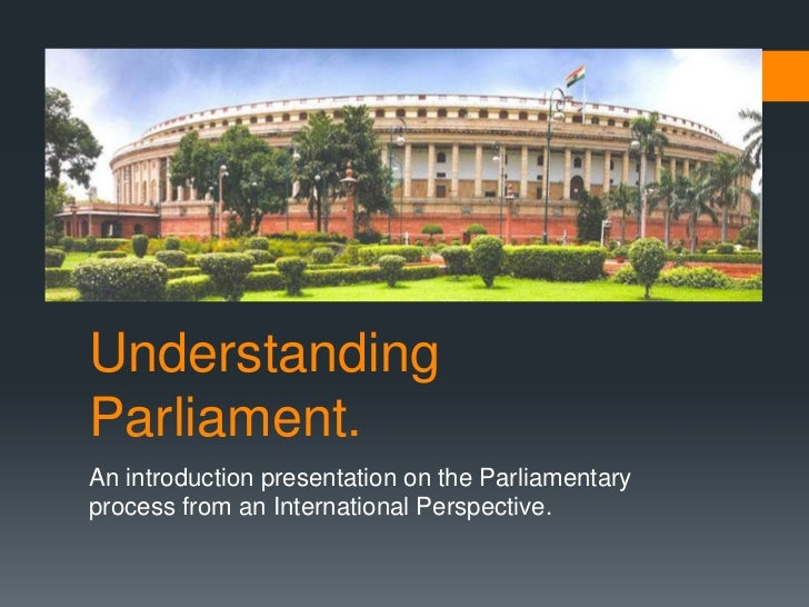 UnderstandingParliament.An introduction presentation on the Parliamentaryprocess from an International Perspective.