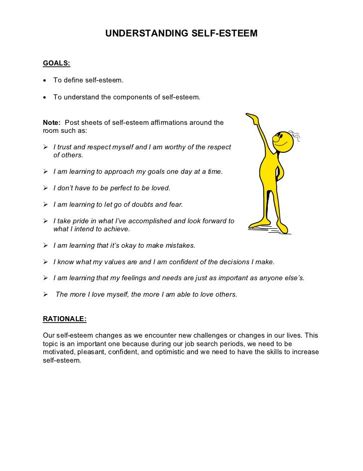 UNDERSTANDING SELF-ESTEEMGOALS:•   To define self-esteem.•   To understand the components of self-esteem.Note: Post sheets...