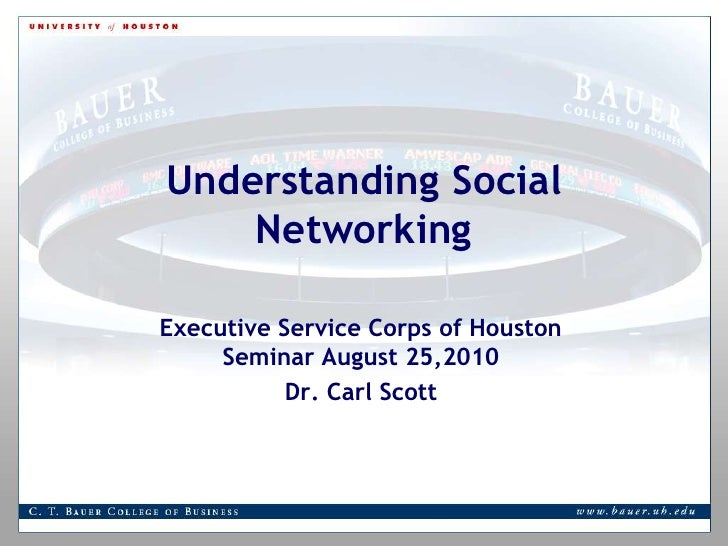 Understanding Social Networking <br />Executive Service Corps of Houston Seminar August 25,2010<br />Dr. Carl Scott<br />
