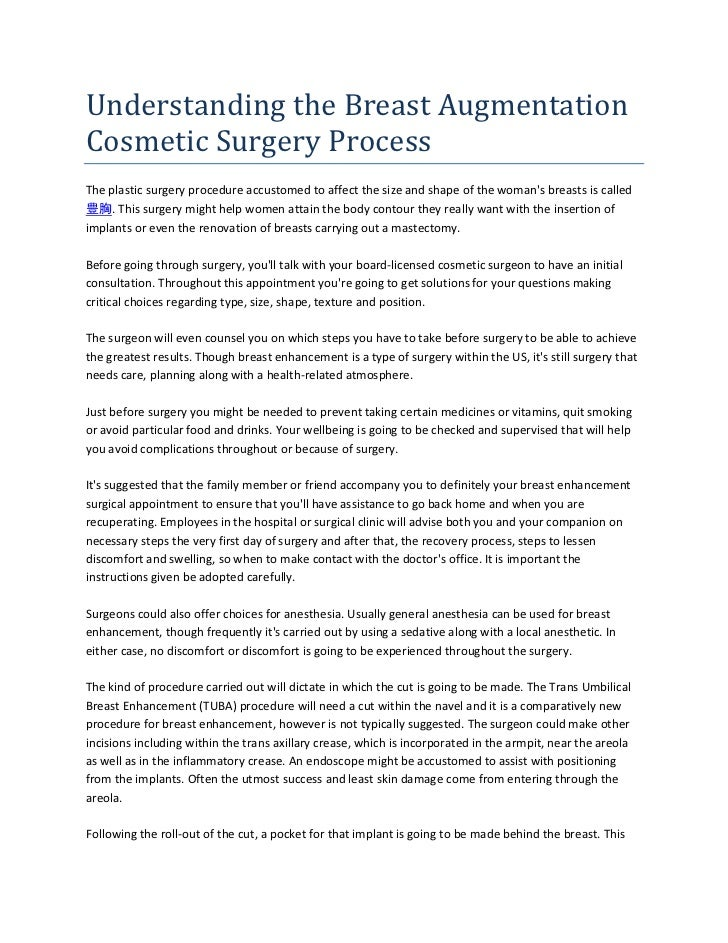 Understanding the Breast AugmentationCosmetic Surgery ProcessThe plastic surgery procedure accustomed to affect the size a...