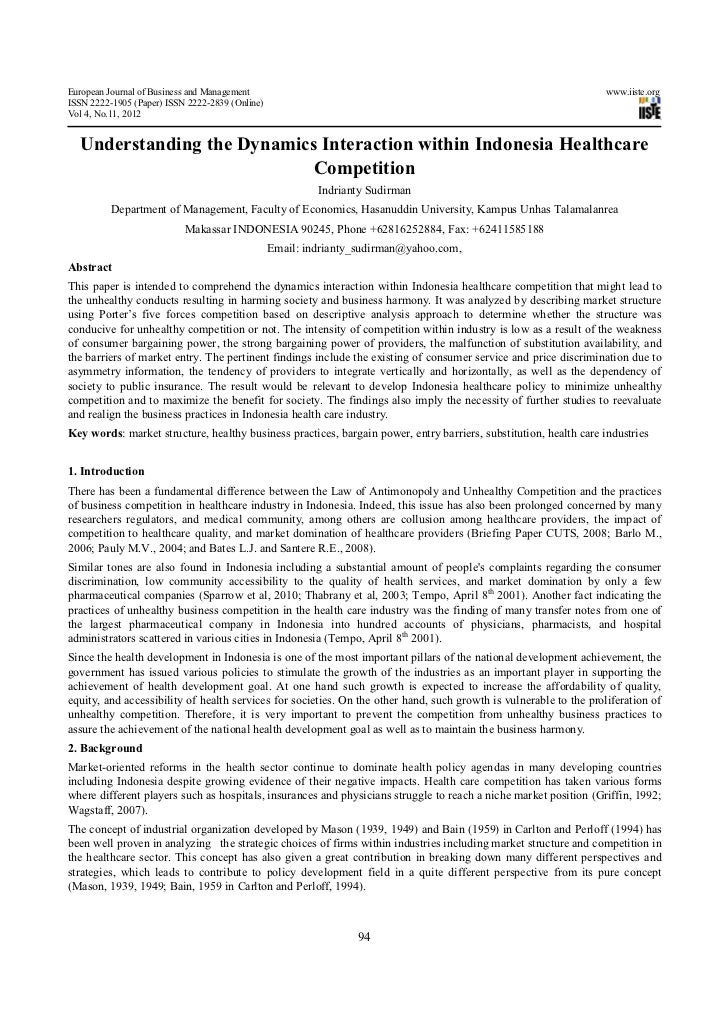 Understanding the dynamics interaction within indonesia healthcare competition