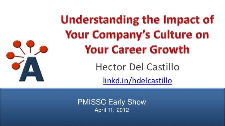 Hector Del Castillo                      linkd.in/hdelcastillo               PMISSC Early Show                   April 11,...