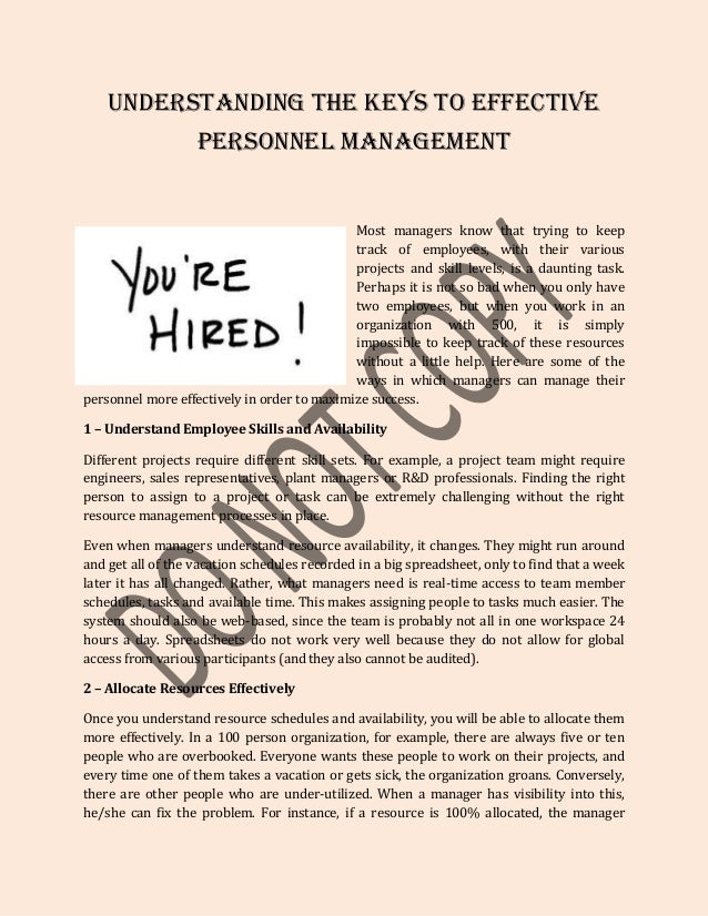 Understanding the keys to effective personnel management