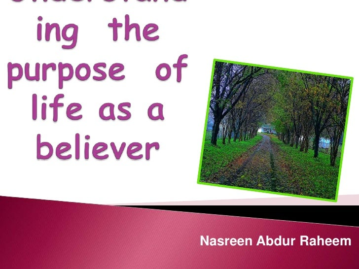 Understanding the purpose of life as a believer