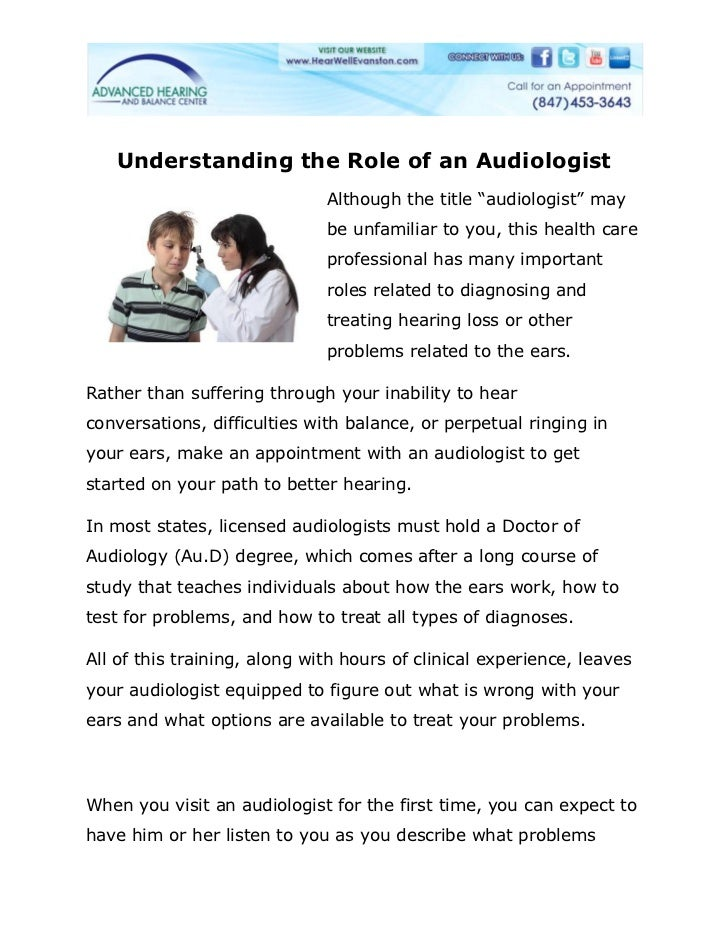 """Understanding the Role of an Audiologist                              Although the title """"audiologist"""" may                ..."""