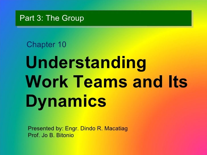 Part 3: The Group <ul><li>Understanding Work Teams and Its Dynamics </li></ul>Chapter 10 Presented by: Engr. Dindo R. Maca...