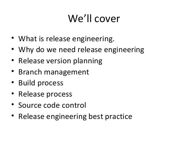 Release Engineer More Information