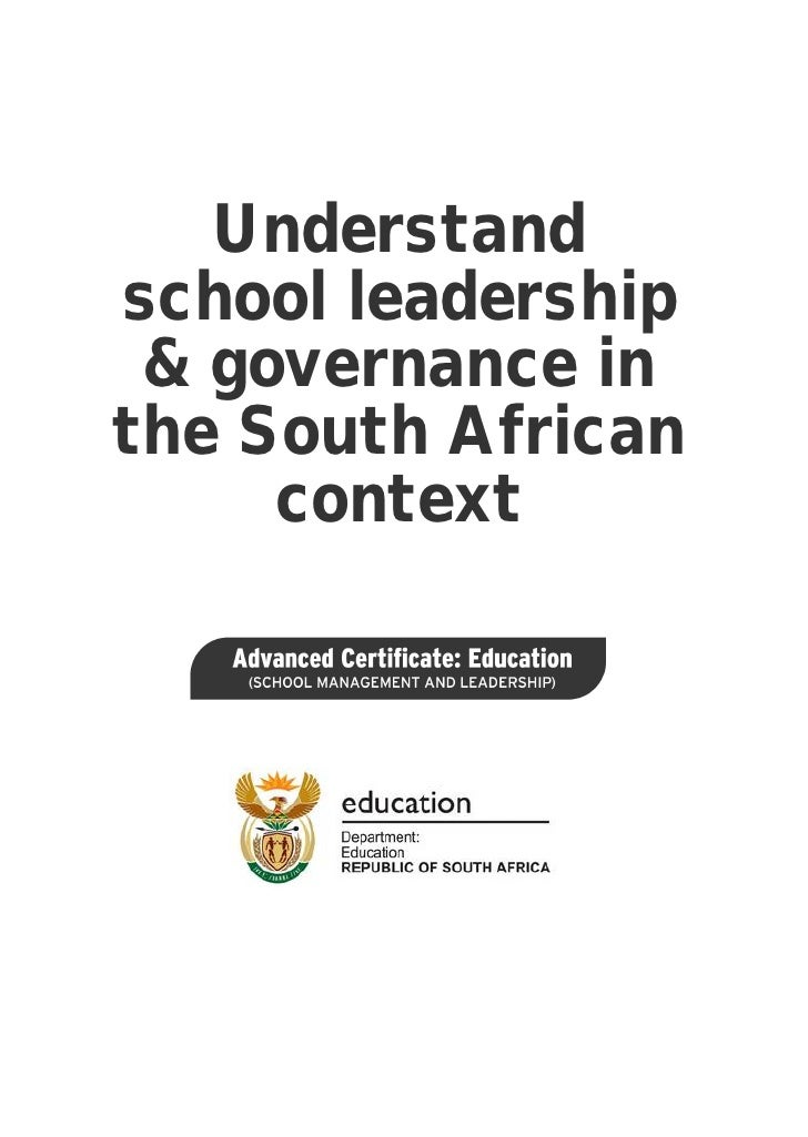 Understand school leadership and governance in the South African context (PDF)