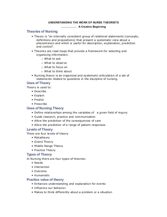 "UNDERSTANDING THE WORK OF NURSE THEORISTS …………….. A Creative Beginning Theories of Nursing • Theory is ""an internally cons..."