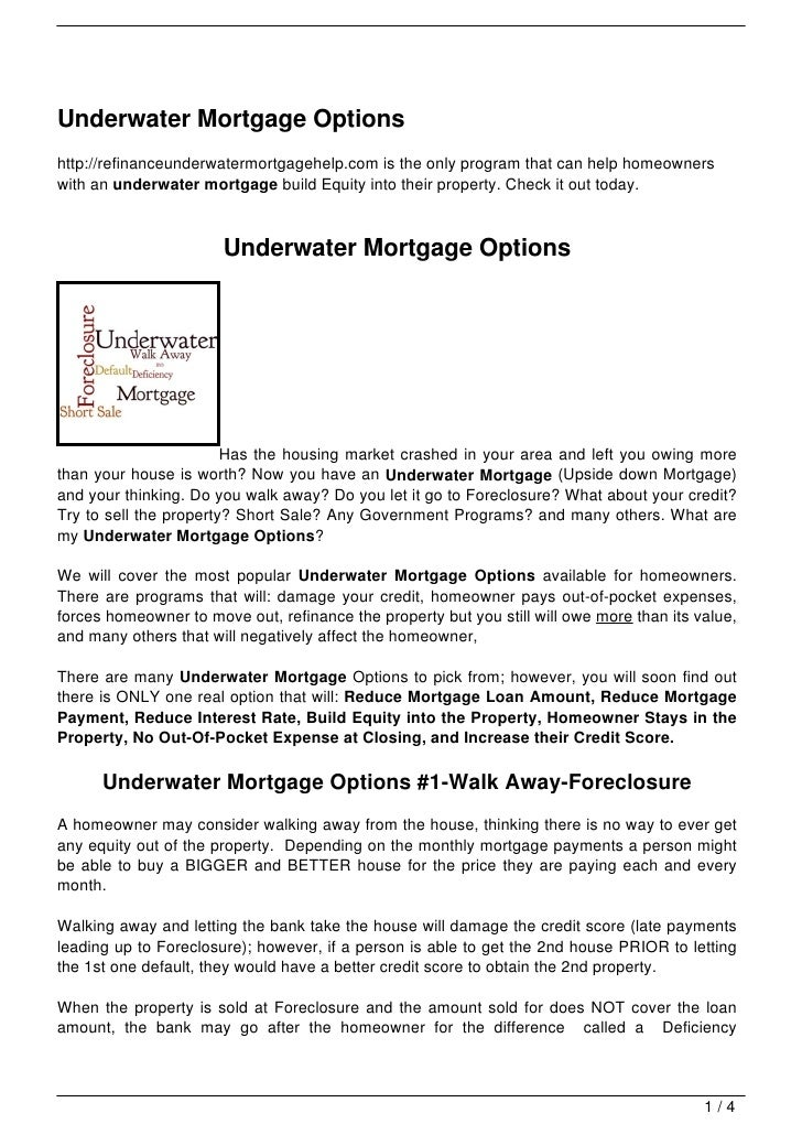 Underwater Mortgage Options