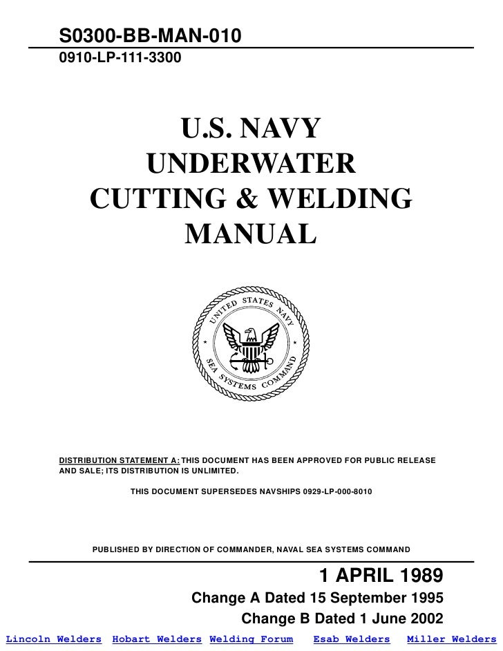 Us navy underwater cutting welding manual