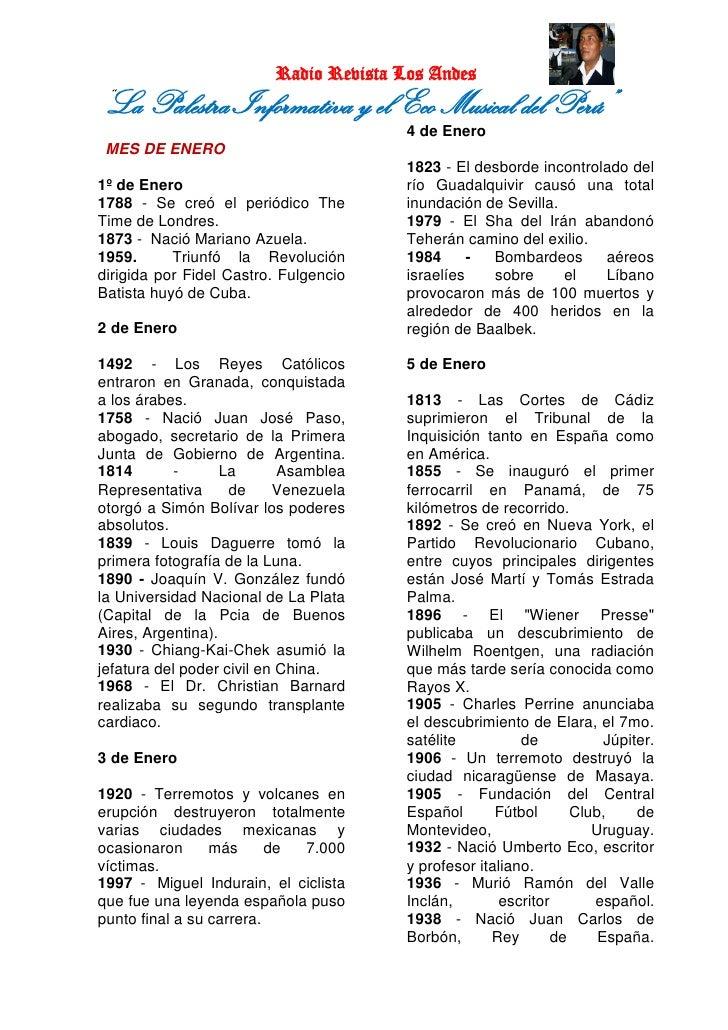"""Radio Revista Los Andes""""La Palestra Informativa y el Eco Musical del Perú""""                                        4 de Ene..."""