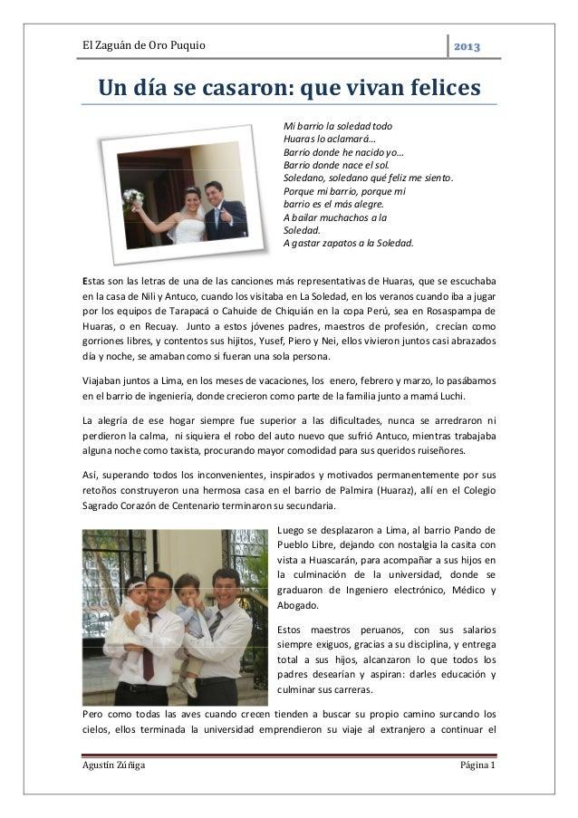 El Zaguán de Oro PuquioAgustín Zúñiga Página 1Un día se casaron: que vivan felicesMi barrio la soledad todoHuaras lo aclam...