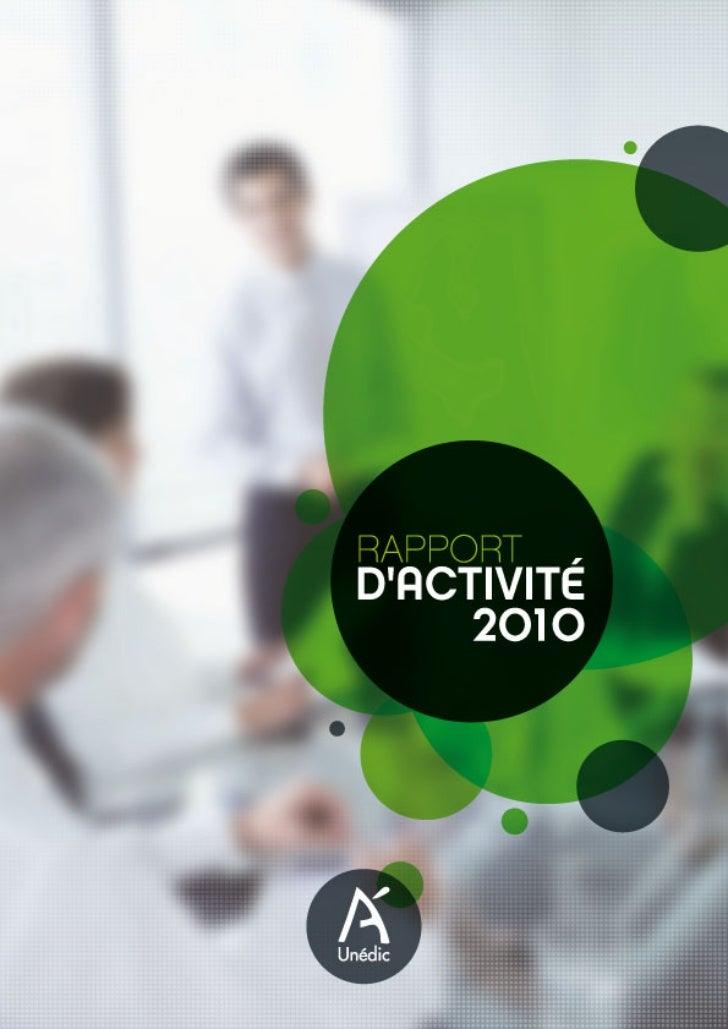 Unédic : rapport d'activité 2010