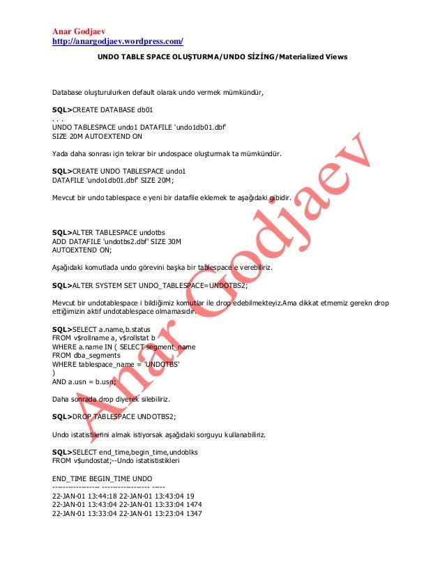 UNDO TABLESPACE/ UNDO SİZİNG/ Materialized Views