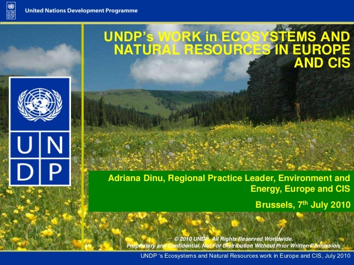 UNDP's WORK in ECOSYSTEMS AND NATURAL RESOURCES IN EUROPE AND CIS <br />Adriana Dinu, Regional Practice Leader, Environmen...