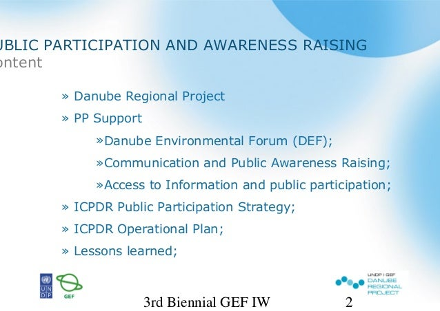 UNDP/GEF Danube Regional Project and Public Participation in the Transboundary River Basin Management