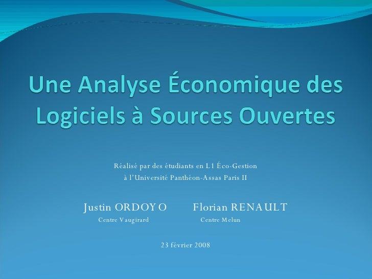 Réalisé par des étudiants en L1 Éco-Gestion à l'Université Panthéon-Assas Paris II Justin ORDOYO Florian RENAULT     Centr...