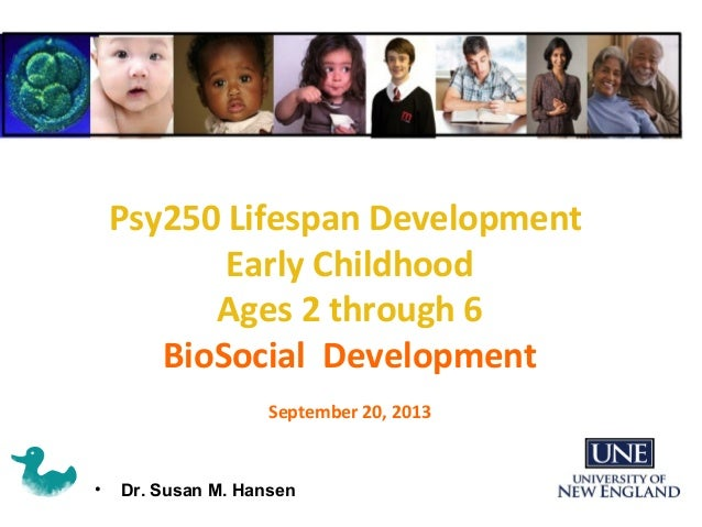 • Dr. Susan M. Hansen Psy250 Lifespan Development Early Childhood Ages 2 through 6 BioSocial Development September 20, 2013