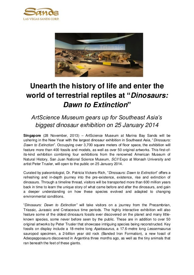 """Unearth the history of life and enter the world of terrestrial reptiles at """"Dinosaurs: Dawn to Extinction"""" ArtScience Muse..."""
