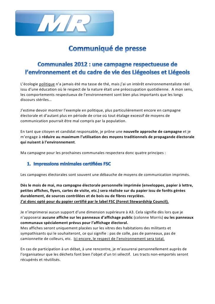 Communales 2012 : une campagne respectueuse de l'environnement et du cadre de vie des Liégeoises et Liégeois