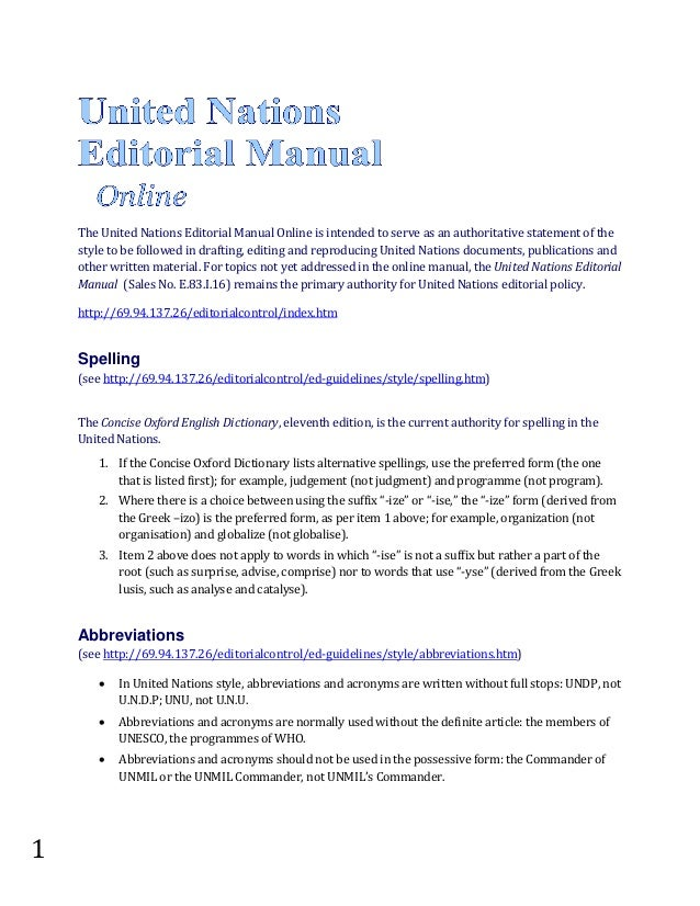 United Nations Editorial Guide