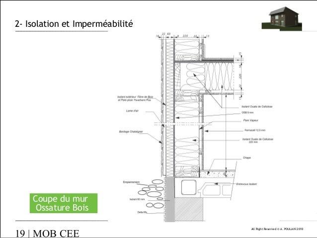 isolation et imperméabilité coupe du mur ossature bois  ~ Coupe Mur Ossature Bois